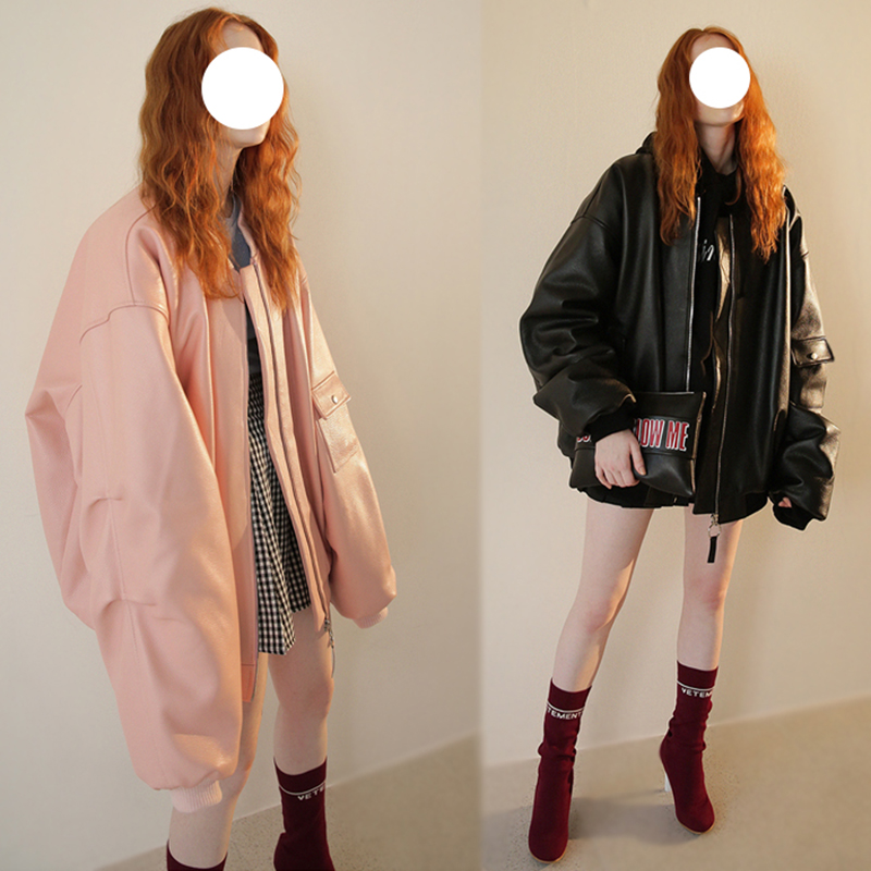 BF hip hop style MA-1 flying leather jacket couple cotton padded clothes Korean version pink Pu loose Baseball Jacket cotton padded clothes womens fashion