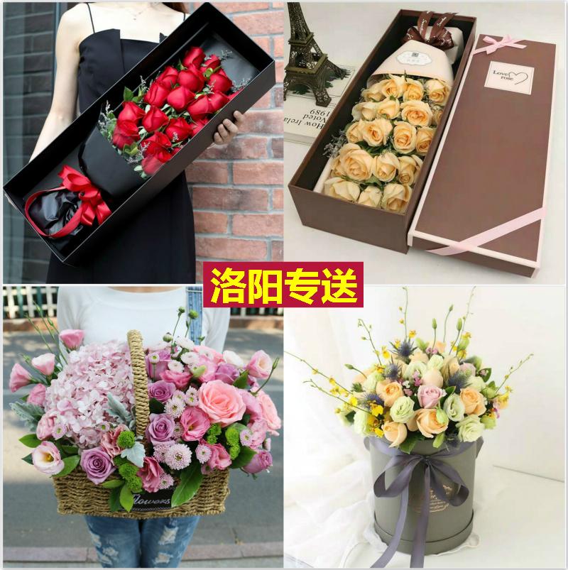 Luoyang fresh flower shop Express City Rose gift box hand-held flower basket Baotong Jianxi old city western industry luolongfuhe