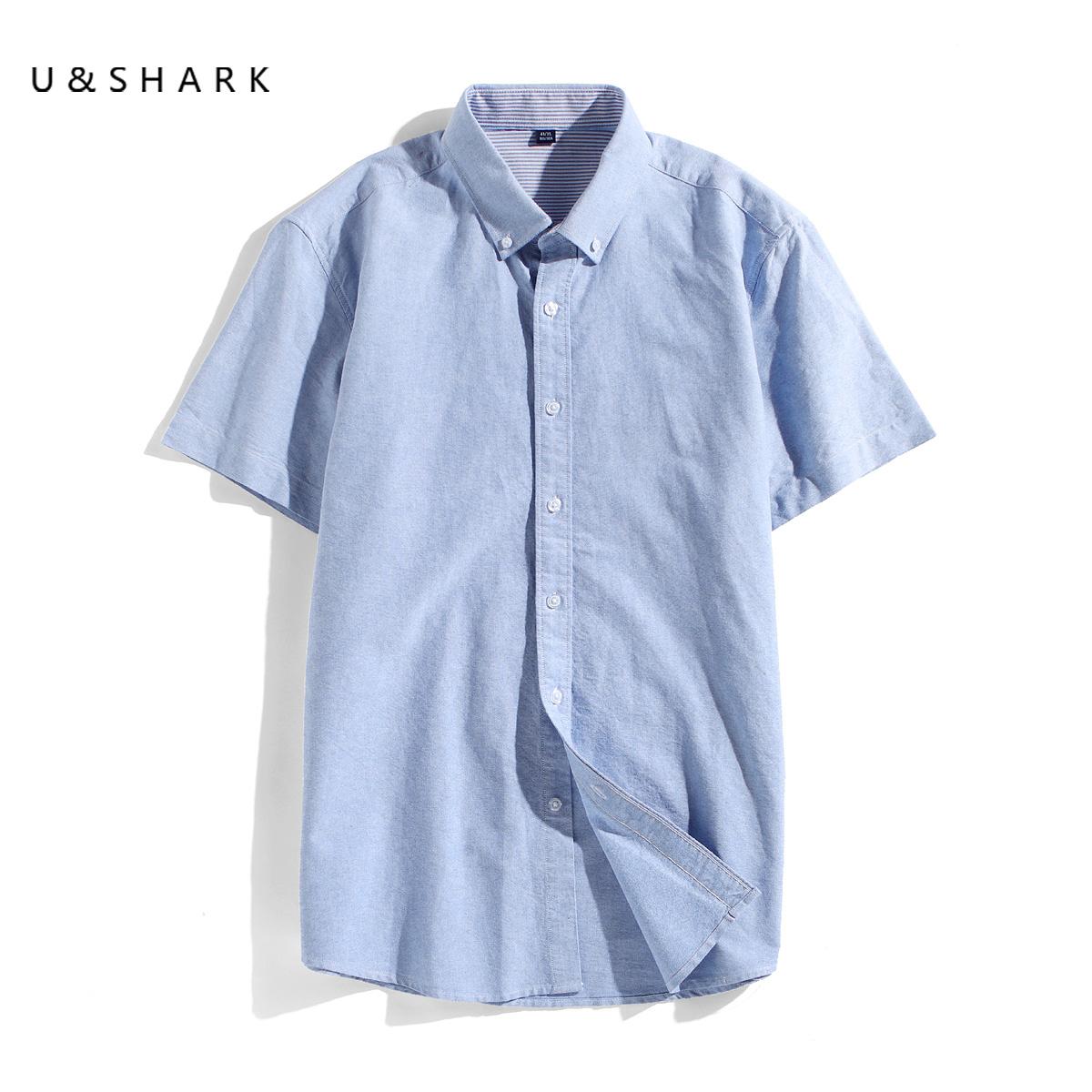 夏季新款纯棉短袖衬衫男韩版休闲潮流半袖衬衣纯色牛津纺白寸衫图片