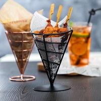 Nordic ins креативный ресторан кованая закусочная корзина полосатый Жареная куриная сетка для закусок красный Кофейня пакет Корзина американская
