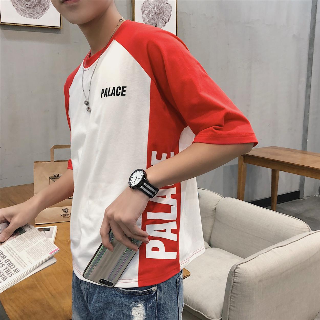 港风文艺潮流拼色男士短袖T恤圆领夏季宽松体恤韩版印花半袖衣服