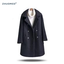 秋冬A字型中长款双排扣羊毛呢外套大摆加厚茧型韩版呢子大衣女