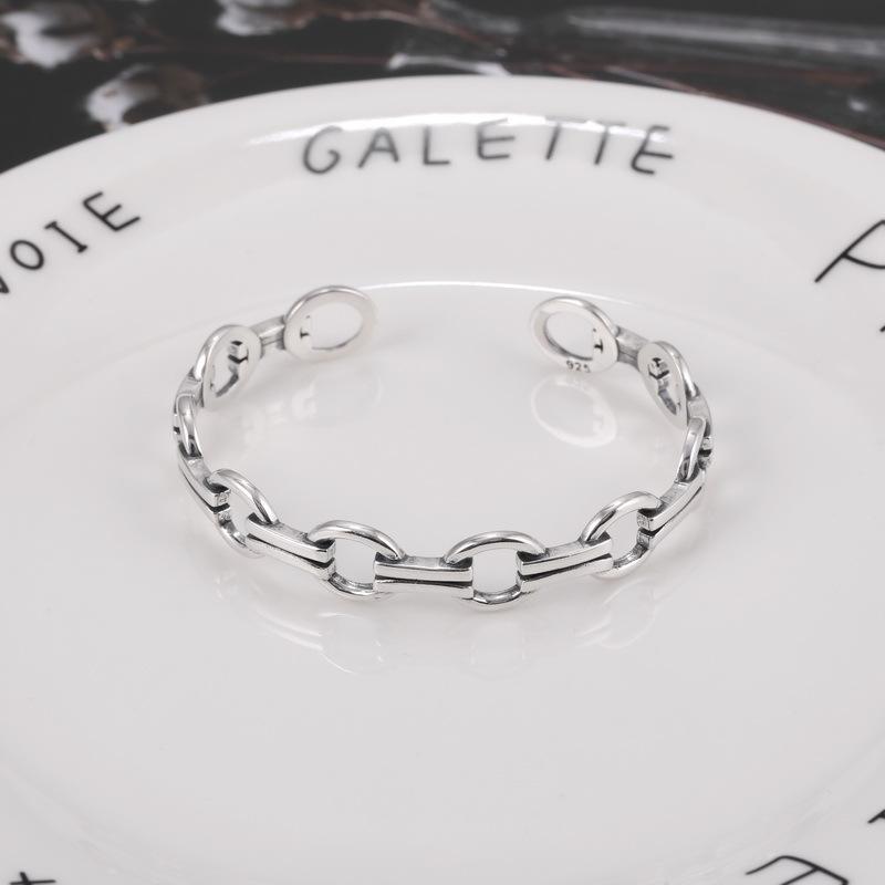 Retro Thai silver original design hollow geometric opening personality lovers Korean S925 silver pig nose Bracelet female