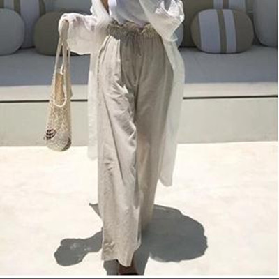 Korean products buy authentic Korean womens East Gate Korean fashion cool comfortable linen Beige swing pants wide leg pants