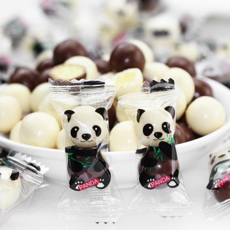 熊猫夹心巧克力豆散称批发麦丽素糖果网红创意独立包装万圣节零食