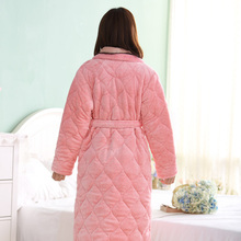 Autumn and winter nightgown female thickening and long section three-layer quilted coral fleece plus velvet ladies robe bathrobe bathrobe