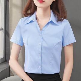[小慧家]衬衫斜纹女半袖短袖正装V领尖领衬衣工作服修身蓝色职业图片