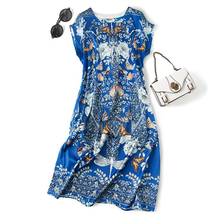 重磅19姆米真丝缎 藏青色蝴蝶结飞舞落肩袖中长款连衣裙