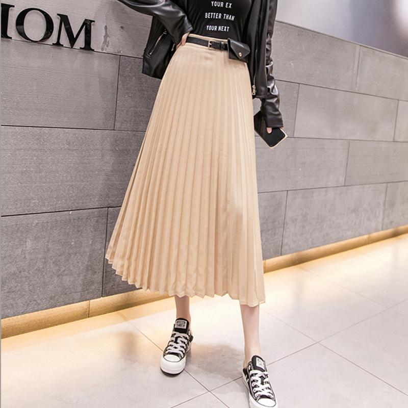 春秋个性时尚气质优雅气质纯色显瘦高腰纯色配腰带包包百褶中长裙