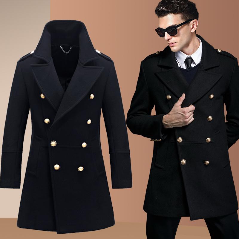 秋冬季加厚羊毛呢子大衣男中长款韩版潮流英伦风毛呢风衣妮子外套