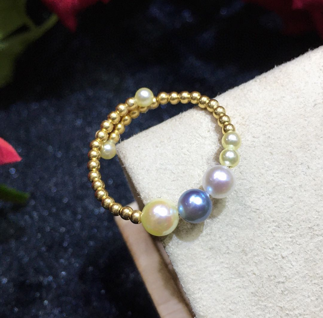 Zhuji natural pearl 18K Gold candy color sea water Akoya elastic K gold and silver ring pearl really much hemp strong light