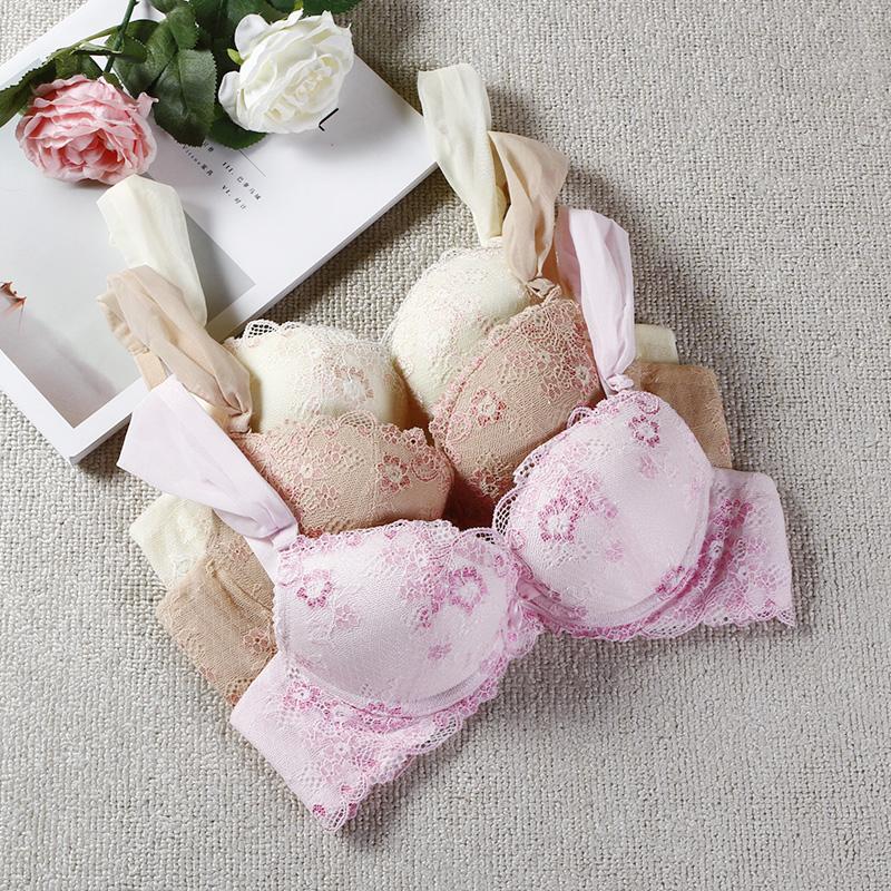 外贸单包邮 超柔软蕾丝花边舒适透气文胸女内衣聚拢调整型胸罩