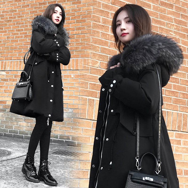 Down jacket womens middle and long 2020 new winter Korean fashion big hair collar hooded slim and thickened coat