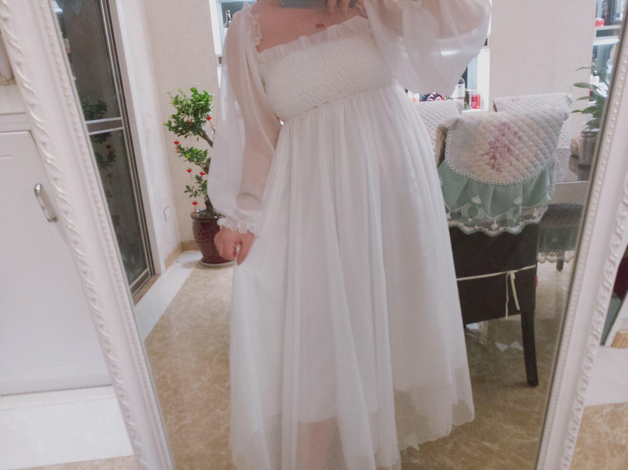欢喜妹er大码女装宽松胖mm显瘦仙女雪纺泡泡袖不规则下摆长裙新品