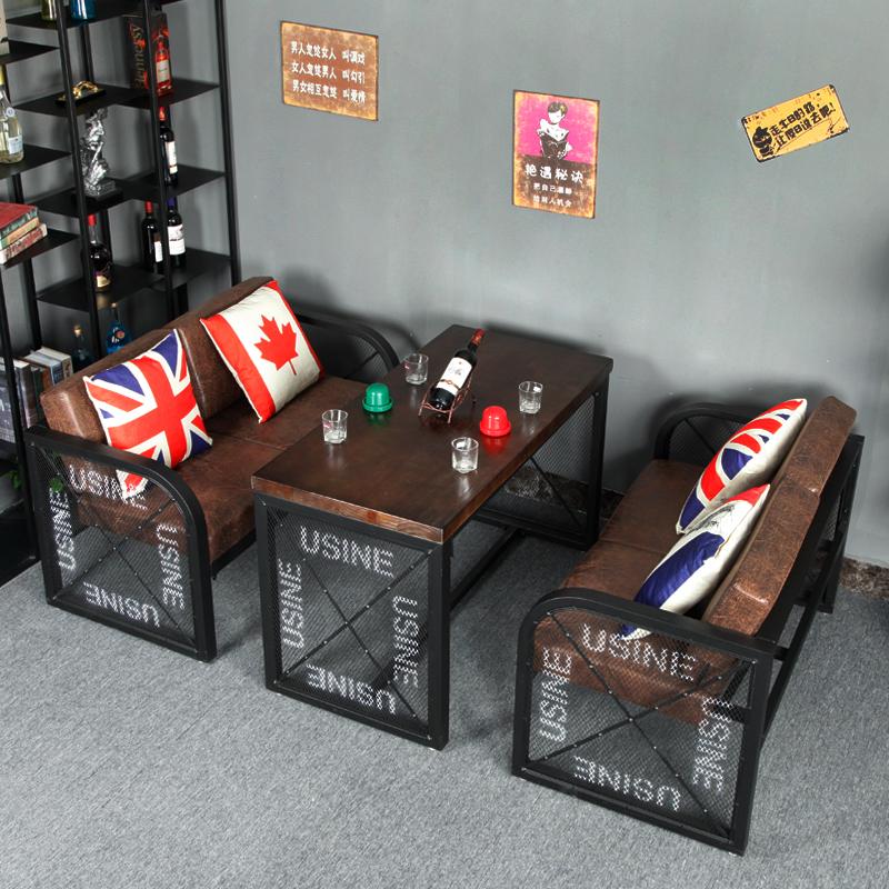 Промышленная ветровая карта сиденье диван кафе бар стол и стул комбинация чайный магазин западный ресторан кованое железо двойной стол настройки