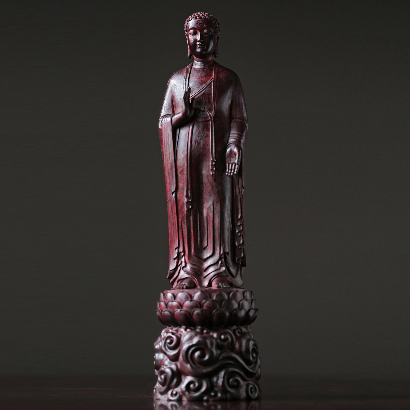 Indian red sandalwood plain clothes Sakyamuni Buddha ornaments: gifts from high-density old material masters hand-made art and woodcarving collection