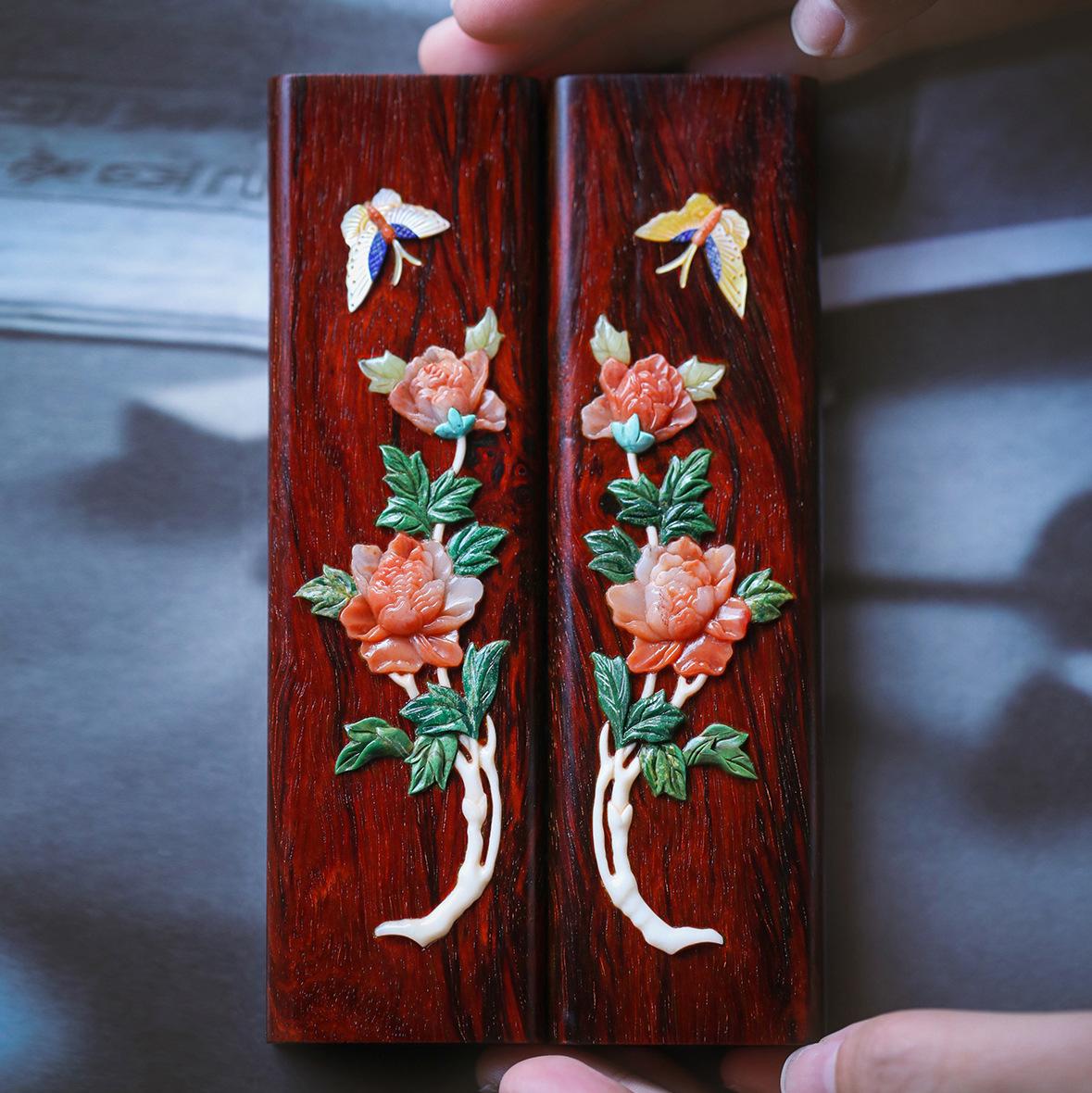印度小叶紫檀百宝嵌花开富贵 镇尺文房用品案上雅件文玩木雕收藏