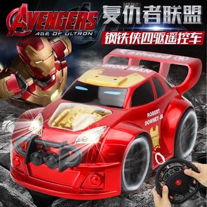 复仇者联盟遥控赛车儿童电动灯光玩具跑车蜘蛛侠方向盘钢铁侠31D