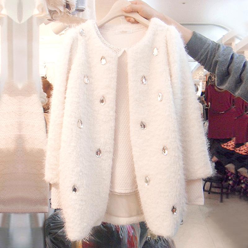 Spring 2020 new Korean loose large womens woolen coat womens middle long sleeve golden mink fur coat