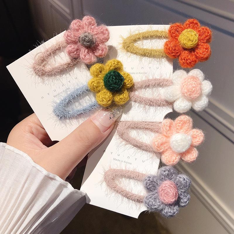 儿童韩国彩色毛绒花朵女童ins bb夹限5000张券