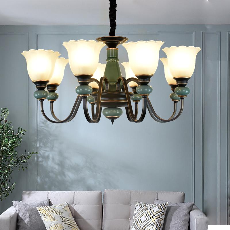 美式陶瓷客厅北欧田园简约现代吊灯