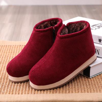 冬季手工棉鞋女加绒保暖老奶奶厚底防滑中老年人妈妈居家用棉拖鞋