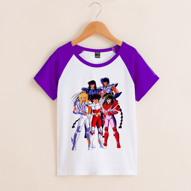 Childrens summer Saint fighter star arrow Purple Dragon flash ice in the big boys short sleeve T-shirt tide children T-shirt
