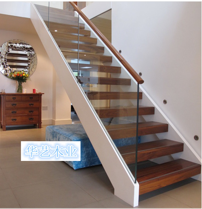 上海定制复式/阁楼实木楼梯扶手 钢木楼梯 玻璃楼梯直梯 旋转楼梯