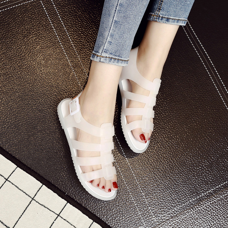 Summer 2020 plastic back trip strap soft flat bottom jelly shoes casual rainy days can wear sandals womens shoes