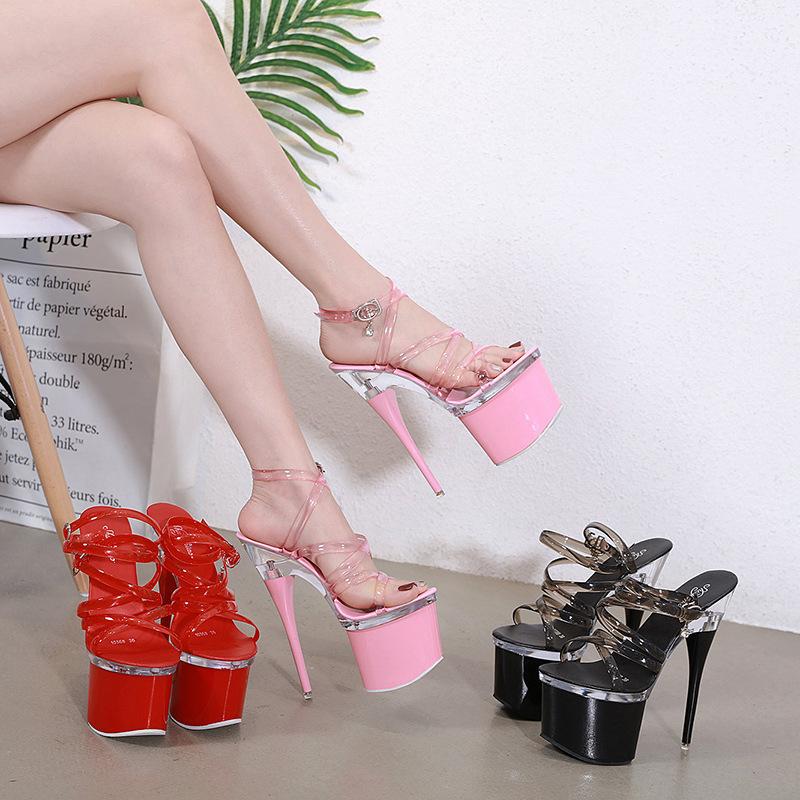 模特走秀粗跟超高跟鞋恨天高透明亮片性感仙女鞋夏季夜店露趾凉鞋