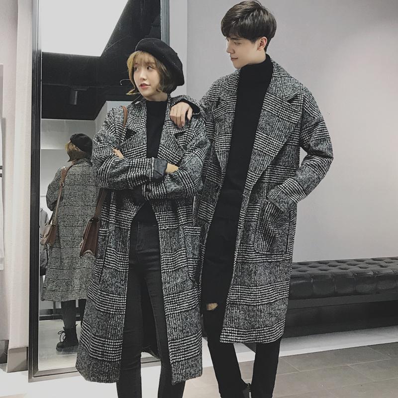 2019秋季新款韩版男士千鸟格情侣风衣大衣中长款呢子流行呢料外套