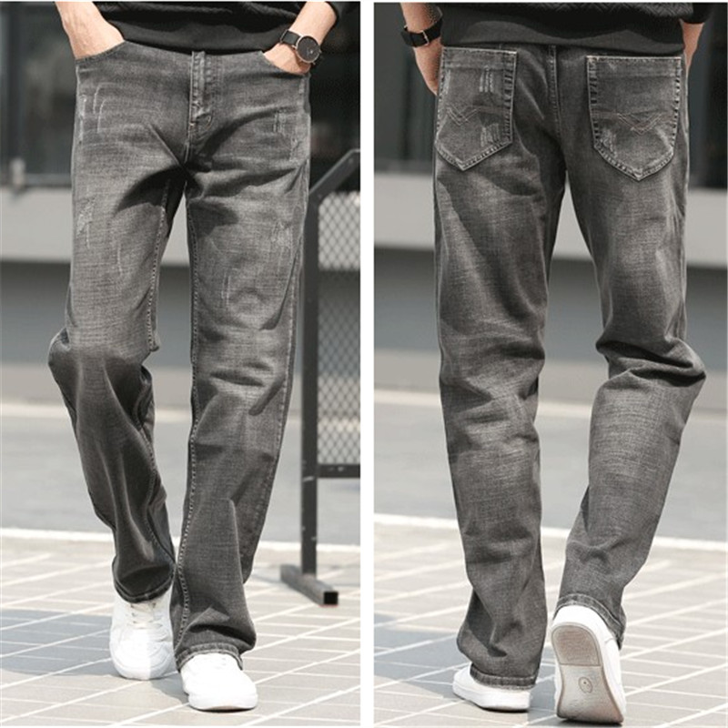 Spring and summer wide leg thick leg mens drape jeans loose straight tube plus fat large size breathable sports leisure