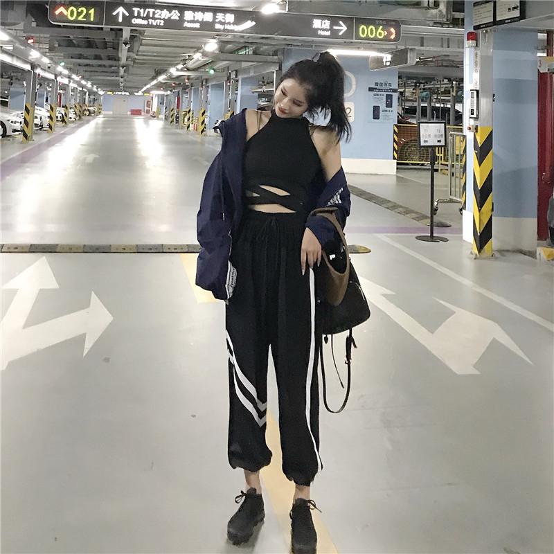 时尚套装宽松显瘦三件套新款韩版2018夏季防晒纱外套挂脖背心女