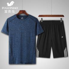 富贵鸟夏季男装速干T恤短袖套装冰丝透气运动套装男t恤短裤两件套