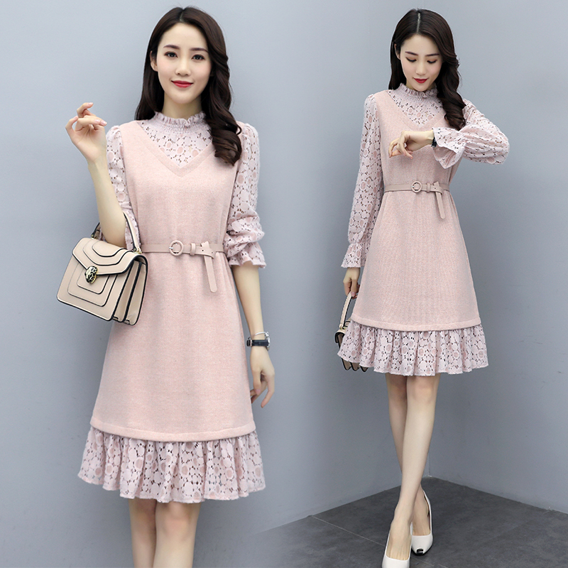 2021 spring lace patchwork tweed dress lace stand collar long sleeve skirt with belt Dress Pink / Beige