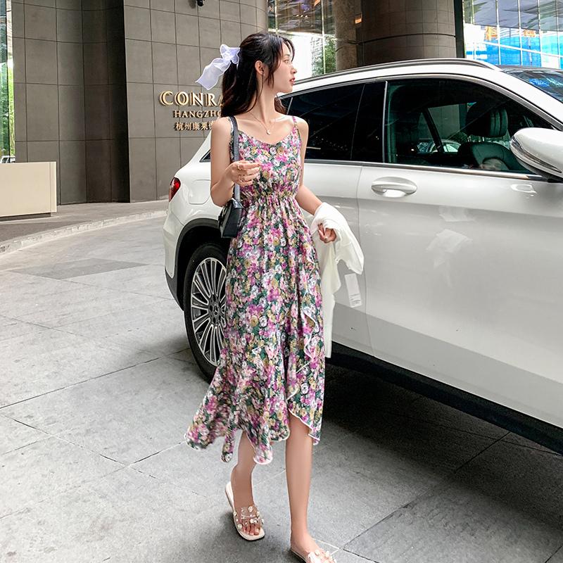 Summer sweet floral dress French chiffon skirt ruffled irregular long skirt wrinkled waist one-piece skirt