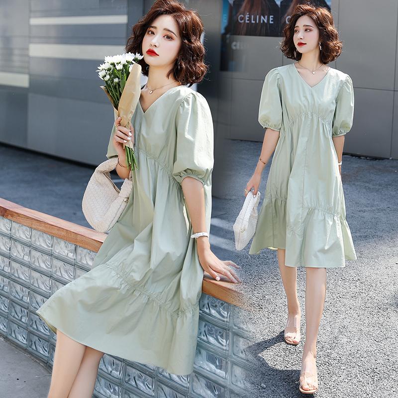 Summer new V-neck bubble sleeve short sleeve skirt loose high waist dress Jumpsuit green kl0967