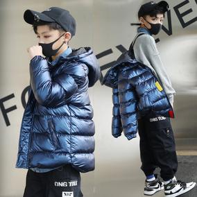 童装冬装男童加厚洋气短款连帽中大
