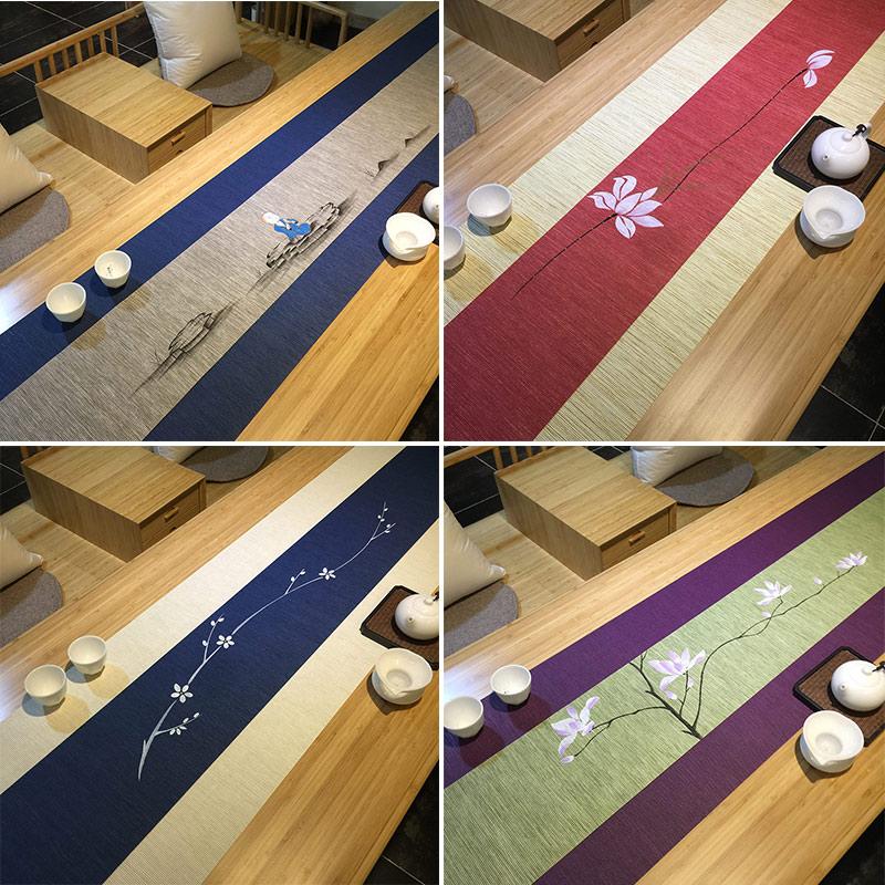 日式茶席桌旗 禅意手绘茶席茶桌布 防水纸超长茶帘茶垫茶布茶旗
