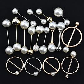 韩版珍珠装饰纽扣女装风衣呢外套珍珠别针扣金属圆环扣双头插珠扣