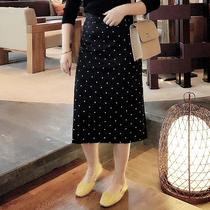 汐家初秋新款女装2019大码半身裙胖mm中长款波点一步裙直筒裙5610