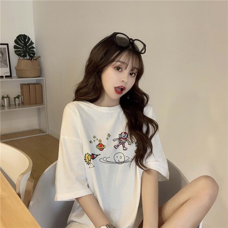 实拍 韩版中长款宽松刺绣网红周款学生白色打底短袖T恤