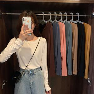 實拍 8573 韓版基礎款人手一件修身長袖圓領百搭簡約純色T恤