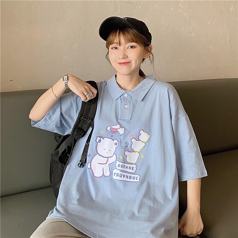 实拍 韩版中长款百搭宽松自制POLO翻领T恤女潮入放心上架
