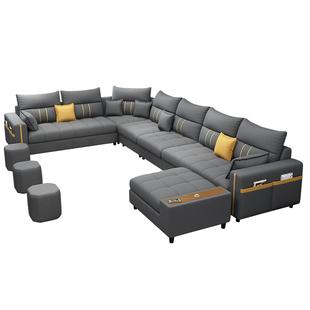 簡約現代布藝沙發客廳整裝傢俱大小户型免洗科技布轉角乳膠布沙發