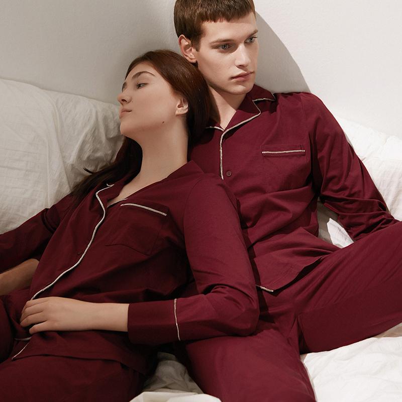 淳度丝光棉情侣婚庆长袖春秋季红色睡衣