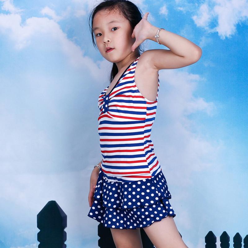 儿童游泳衣 中大童女学生分体裙式泳装保守条纹波点 清仓处理