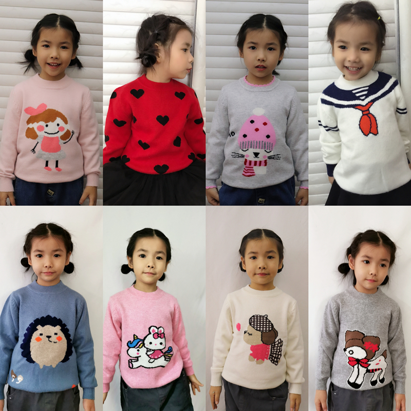 Childrens cashmere sweater big girls sweater knitwear Baby Sweater little childrens cashmere sweater round neck thickened Pullover