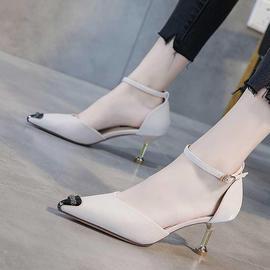 时尚尖头浅口单鞋女2020新款网红一字带高跟鞋女细跟中跟百搭43