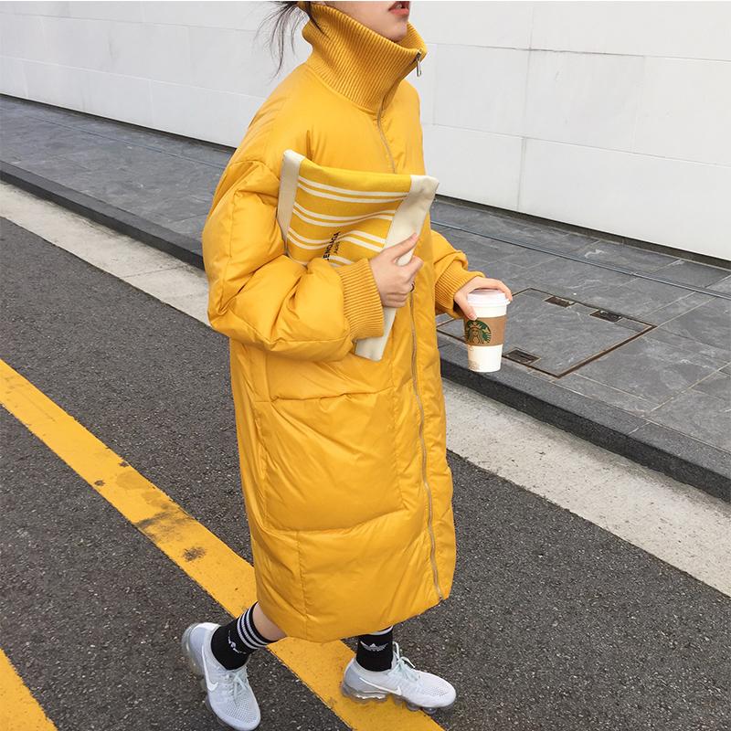 韩国秋冬季新品中长款宽松加厚过膝黄色高领羽绒棉服女棉衣外套